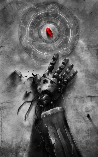 Fullmetal Alchemist Brotherhood Edward Elric's automail arm and the Philosopher's stone.