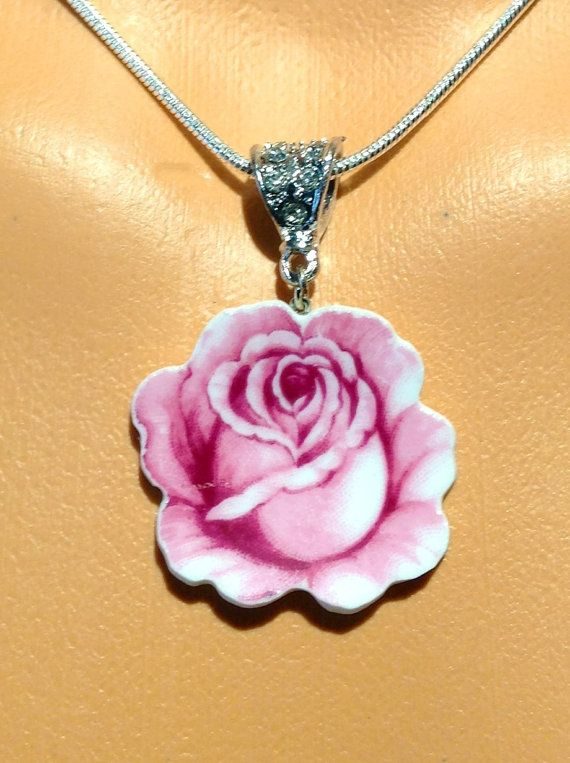 Pink Rose Jewelry Broken China Necklace by DinnerWearJewelry, $48.00