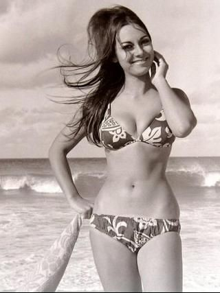 Patricia Spendlove looks nearly postcard perfect on a windy day at Coogee beach in 1967. Credit: Robert Nailon #vintagebikini