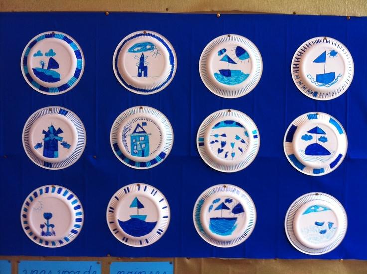 Delfts blauwe bordjes maken nav prentenboek Delfts blauw: een vaas voor de prinses. (groep 4)
