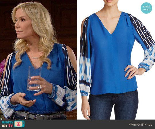 Brooke's blue blouse with printed sleeves on The Bold and the Beautiful.  Outfit Details: https://wornontv.net/71283/ #TheBoldandtheBeautiful