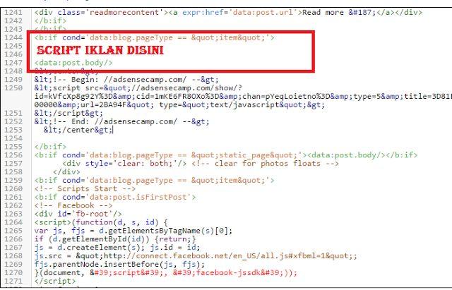 tips & trik: Cara Memasang Iklan Google Adsense Di Tengah Posti...