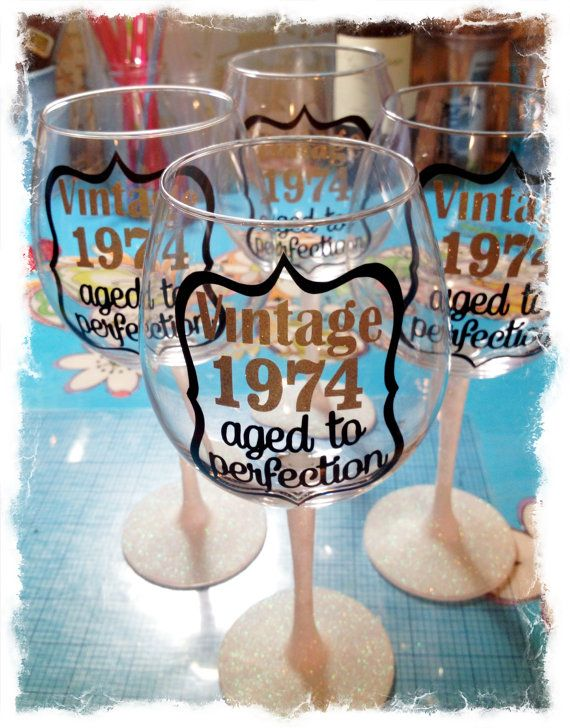 Group of 4 Glitter Stem Wine Glasses Vintage 19... by MamaGlitter