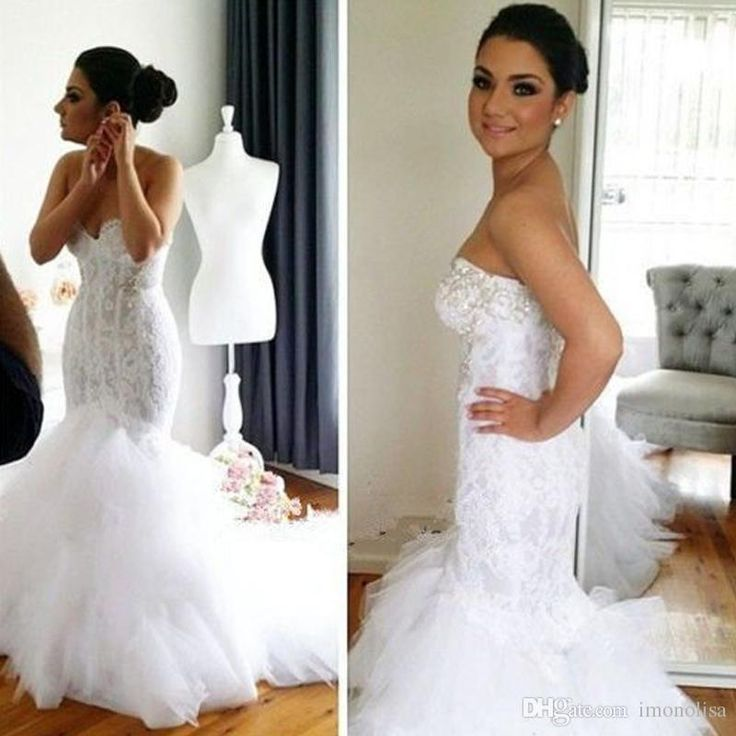 Lace Mermaid Wedding Dresses 2016 Off Shoulder Sweetheart Sleeveless Trumpet With Appliques Tulle Plus Size Vestido