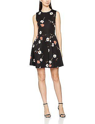 8, Black (Black), Springfield Women's 3.China. Vestido Print Flo Casual Dress NE