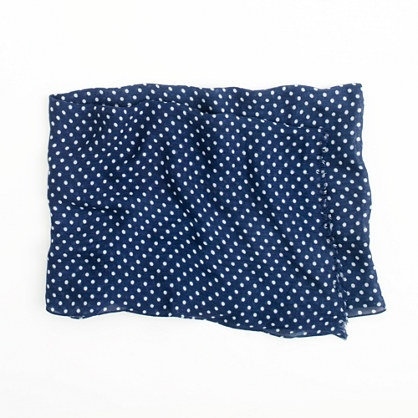 Jcrew printed tissue scarf...navy with white polka dots...perfect to pair with an orange sweater for cooler UVA game days!