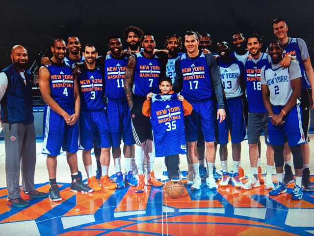 New York Knicks Basketball Clubhouse - ESPN 20151201: Ian Begley ESPN Staff Writer - Nice job by the Knicks, who hosted 11-year-old Edward Gelormino from the Make A Wish Foundation at practice Tuesday at MSG. He'll lead the team onto the court for pregame intros Wednesday. (Photo via Dave Saffran/MSG Photos)