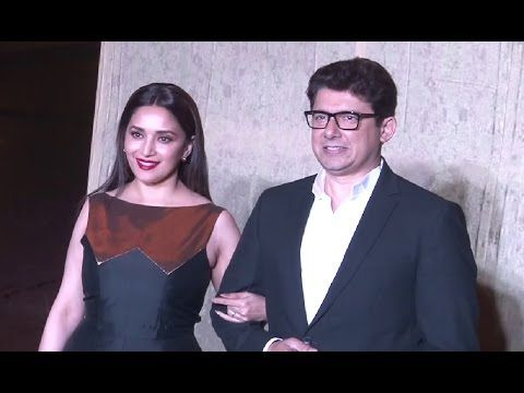 Madhuri Dixit With Husband Dr Sriram Nene At Manish Malhotra's 51st Grand Birthday Bash.