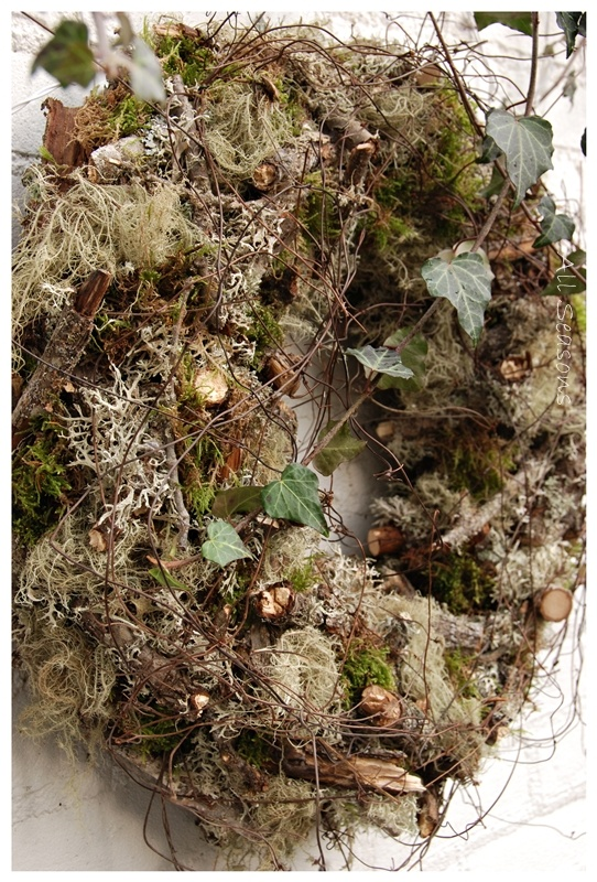 ♥ All Seasons moss and twigs and berries I would mix green vine through out to punch up color