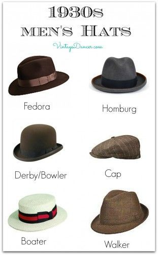 1930s Men's hat Styles. Learn more and shop at http://VintageDancer.com