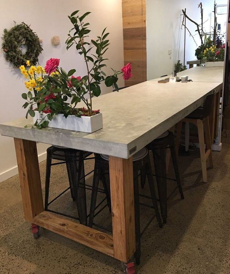 2.1m Polished concrete & timber dining table indoor outdoor patio furniture in Home & Garden, Furniture, Tables | eBay!