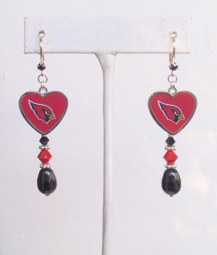 Arizona Cardinals Earrings, AZ Cards In It To Win It, Black Pearl, Red Crystal, Pro Football Playoffs Earrings, NFC Football Bling by scbeachbling on Etsy
