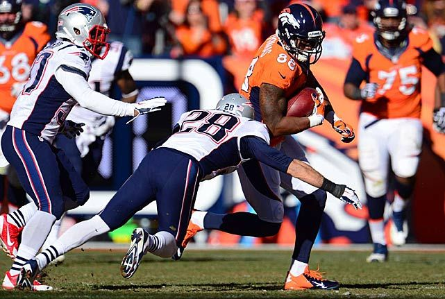 Demaryius Thomas #88 (WR) had a game-high 134 yards and scored a touchdown during the Broncos win on 01/19/14
