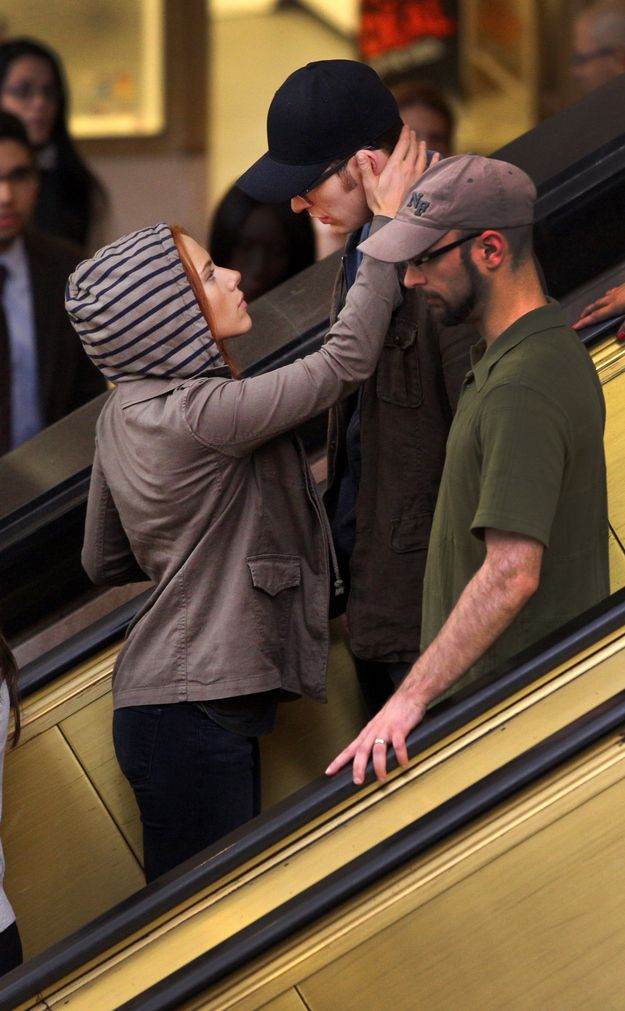 Scarlett Johansson and Chris Evans filmed a surprising romantic scene at Tower City Center in Cleveland today.