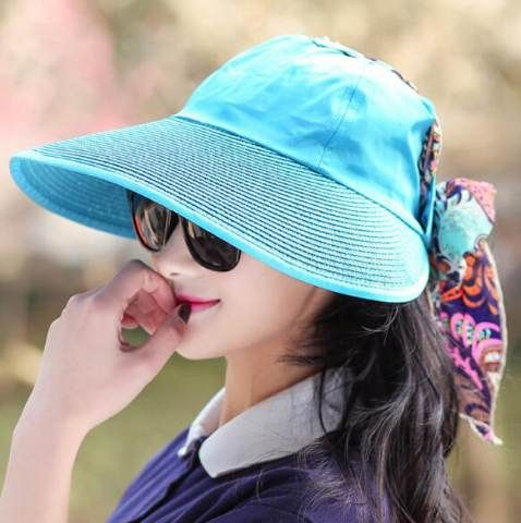 Lace up sun visor hat for women travel wide brim straw hats