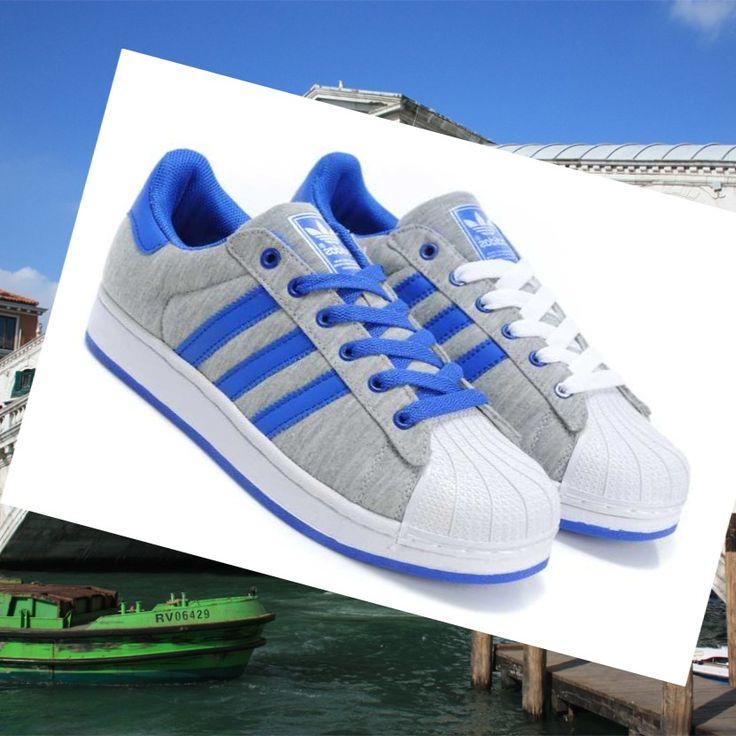 Scarpe Uomo Adidas Superstar 2 Grigio/Blu Royal 1