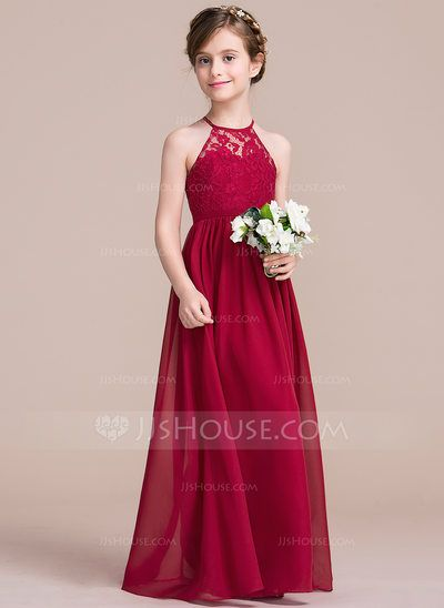 [US$ 72.69] A-Line/Princess Floor-length Flower Girl Dress - Chiffon/Lace Sleeveless Scoop Neck
