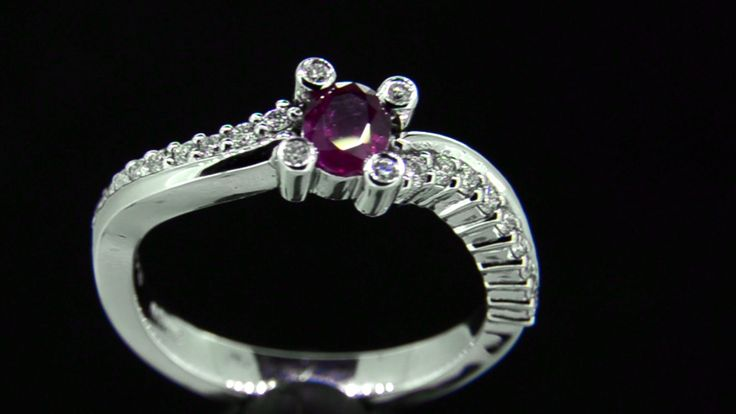 MANILLA' -- Pretty Sweep Set Engagement Ring set with Ruby & Accent Diamonds in 18ct White Gold Ruby Wt. 0.35ct; Diamond Wt. 0.20ct