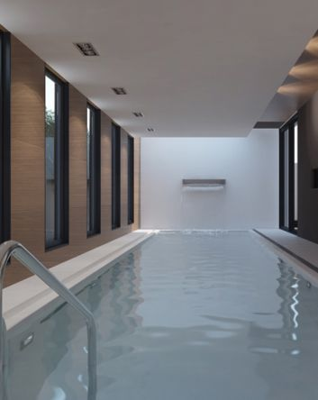 Indoor pool inside the Winter House by Line Architects _