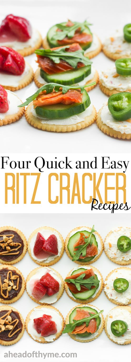 Take the stress out of party planning and serve something sweet or savory with these four quick and easy RITZ Cracker recipes.   aheadofthyme.com via @aheadofthyme