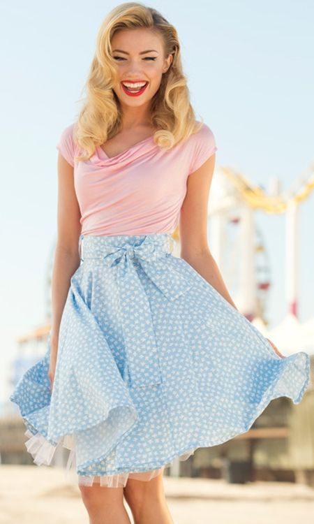 I love this look. The light pink and light blue go well with each other. I like the A-line skirt style and my skirts must be knee-length or longer.