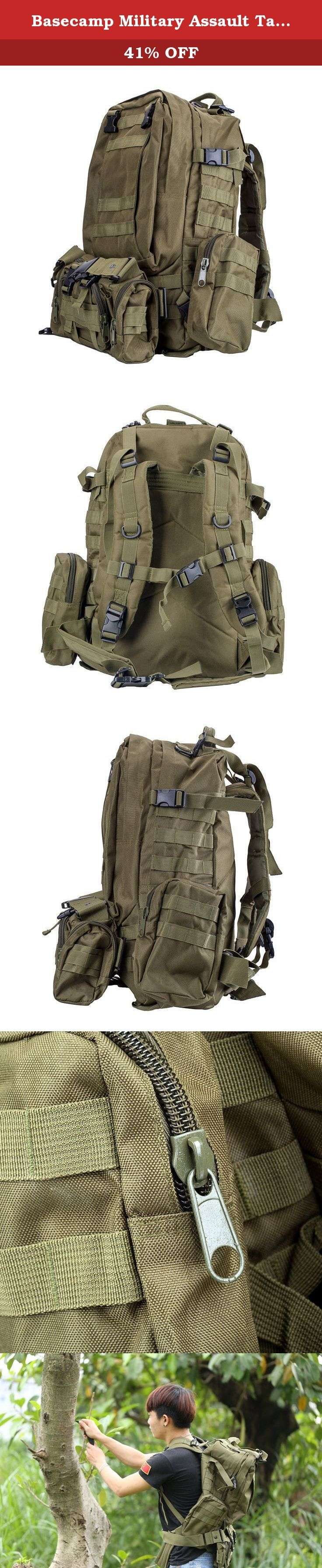 Basecamp Military Assault Tactical Backpack - 50L Green Outdoor Large Tactical Rucksack Molle Backpack for Camping Hiking Mountain Trekking Bag Combined with 3 MOLLE Bags Pack Combat Rucksack Daypacks. This Tactical Backpack is ideal and convenient for taking outdoor activities, such as hiking, camping, or climbing. With this Large bag, you're prepared to take on all types of weather conditions and terrain. High quality with competitive price and more Useful gears are realized here!...