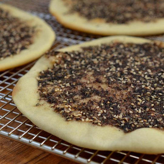 Manakish Zaatar-my sister's hubbys family is Lebanese and they make this all the time, it's AMAZING!