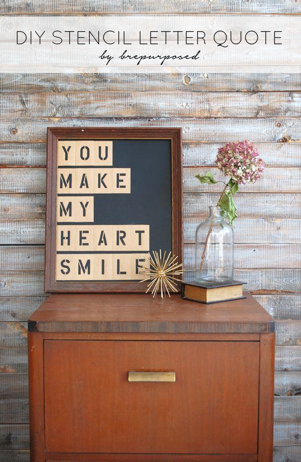 DIY Stencil Letter Quote - brepurposed