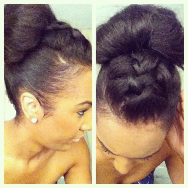 Lovely updo with a twist! Try a braid in the front for fun and texture. Try this look out and be sure to use our Hair Dressing Pomade on your edges for a sleek and shiny look.