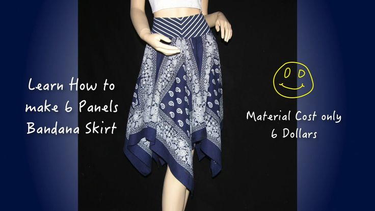 """How to make skirt """"6 panels bandana skirt"""" Make this skirt very easy. It only need 6 pieces bandana, 80cm long and 1cm wide elastic, & 15cm spandex or use yo..."""