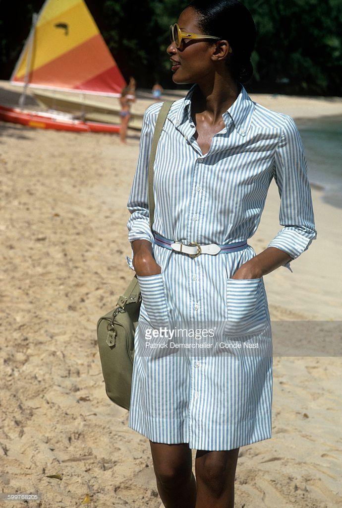 News Photo : Model Beverly Johnson in large sunglasses walking...