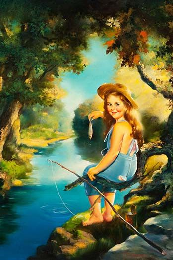 Girl fishing fishing and fishing poles on pinterest for Girl fishing pole