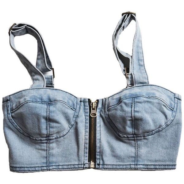 Denim Bandeau Tank with Adjustable Shoulder Strap and Zip Front... ($30) ❤ liked on Polyvore featuring tops, shirts, crop tops, tank tops, zipper shirt, blue denim shirt, denim crop top, sexy shirts and zipper front shirt