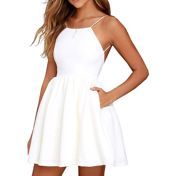 White Backless High Waist Skater Mini Dress ($27) ❤ liked on Polyvore featuring dresses, mini dress, white day dress, short dresses, backless skater dress and short white dresses