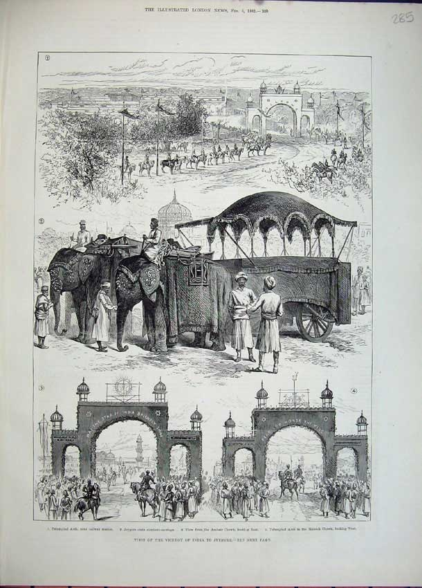 Antique Print c1882 Viceroy India Jeypore Elephants Triumphal Arch Men