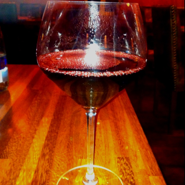 A glass of red wine. 'Bordeaux blend' , Merlot, Cabernet Franc&Cabernet Sauvignon from South Africa!