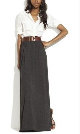 I love a maxi skirt with a crisp white shirt!