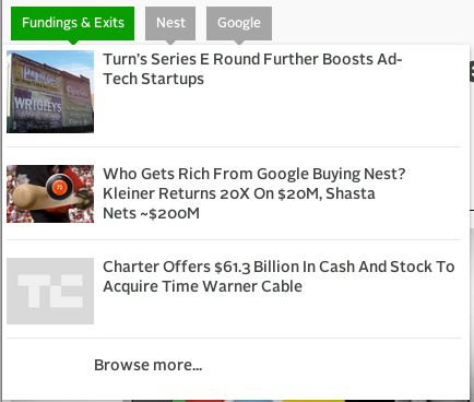 TechCrunch - Tablet view shows on-page display of articles relating to the current article's tags. A small sample are offered, with option below to see all in an archive... 'Progressive enhancement'