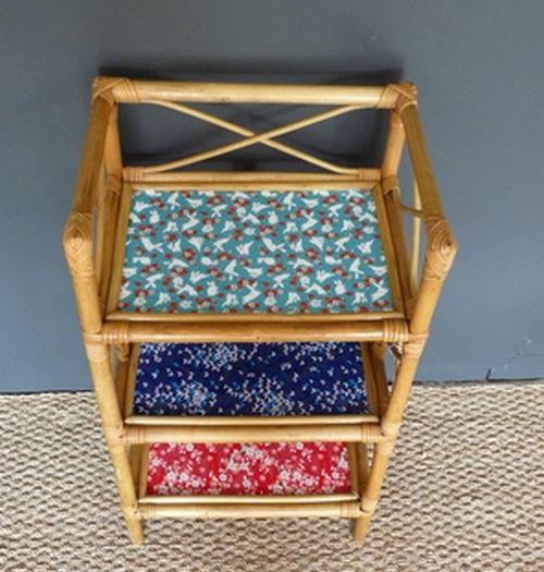 étagère en rotin 3 niveaux - Meubles et mobilier vintage restauré, relooké | Design Rétro chic