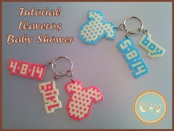 Llaveros de hama beads para un baby shower