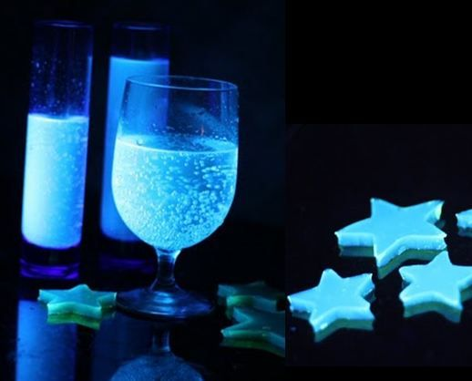 DIY - Glow in the dark drinks and jello jigglers. The secret to glowing food is tonic water (diet tonic water works too).  It contains quinine, and guess what happens when you expose quinine to black light? fun, right??  So if you mix up a drink (like crystal light or lemonade) and add a little tonic water magical glowing beverages! Pretty much anything you can make that includes water can glow with tonic water.  Like Jello for example: