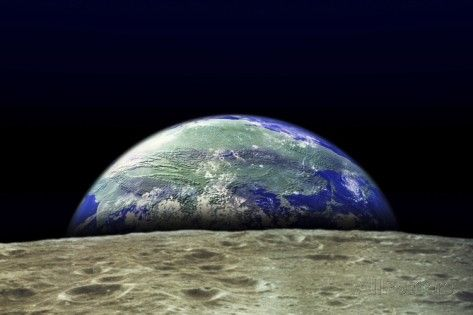 Earth Rising Over Moon Surface Giant Art Print