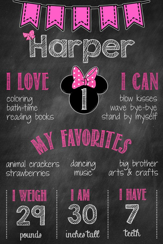 1st Birthday Minnie Mouse Chalkboard Poster // by MsThirdGrade
