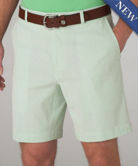 SOUTHERN Tide SHORTS 40 Flat FRONT Striped SEERSUCKER Green WHITE Skipjack 7210* #SouthernTide #CasualShorts