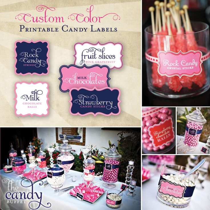 I've received a lot of inquiries about the candy labels from the Sweet & Sparkly Wedding Candy Buffet I created for a friend a while back, so I'm super excited to share that these labels are finally available for purchase in our Shop… with the colors of your choice!