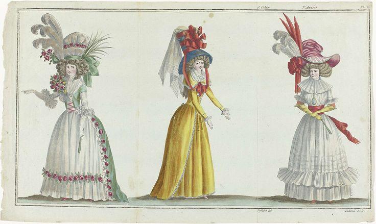 A.B. Duhamel | The First Fashion Magazine, A.B. Duhamel, Buisson, 1787 | Links: vrouw in een japon van groen satijn, versierd met tule en een guirlande van rozen. Midden: vrouw in een oranje redingote en rok. Hoed van blauw satijn. Rechts: vrouw in een chemise van effen mousseline met dubbele falbala en een breed ceintuur. Op het hoofd een 'chapeau à la chinoise'. De prent maakt deel uit van het 2e Cahier, 3e année, uit Magasin des Modes Nouvelles Françaises et Anglaises. De serie bestaat…