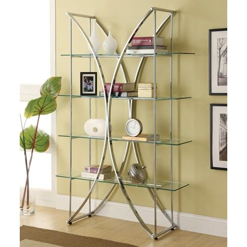 eclectic design  bakers racks furniture | Bookcases X-Motif Chrome Finish Bookshelf with Floating Style Glass ...