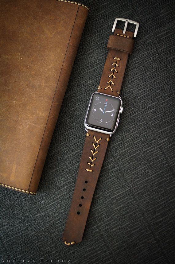 Handmade Vintage Leather Band - BaseBall Stitching/dark BROWN leather incl. Lugs…