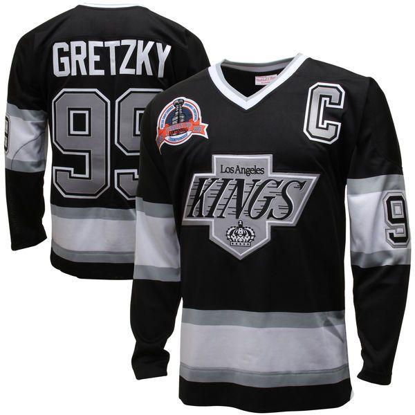 Mens Los Angeles Kings Wayne Gretzky Mitchell & Ness Black Throwback Authentic Vintage Jersey - Shop.NHL.com