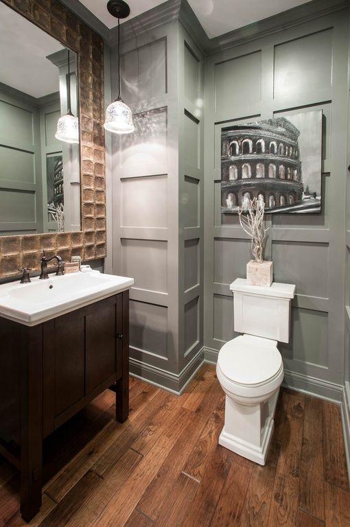 Traditional Powder Room Undermount Sink Pendant Light Crown Molding